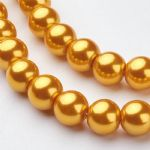 Glass Pearl Beads Gold 8mm
